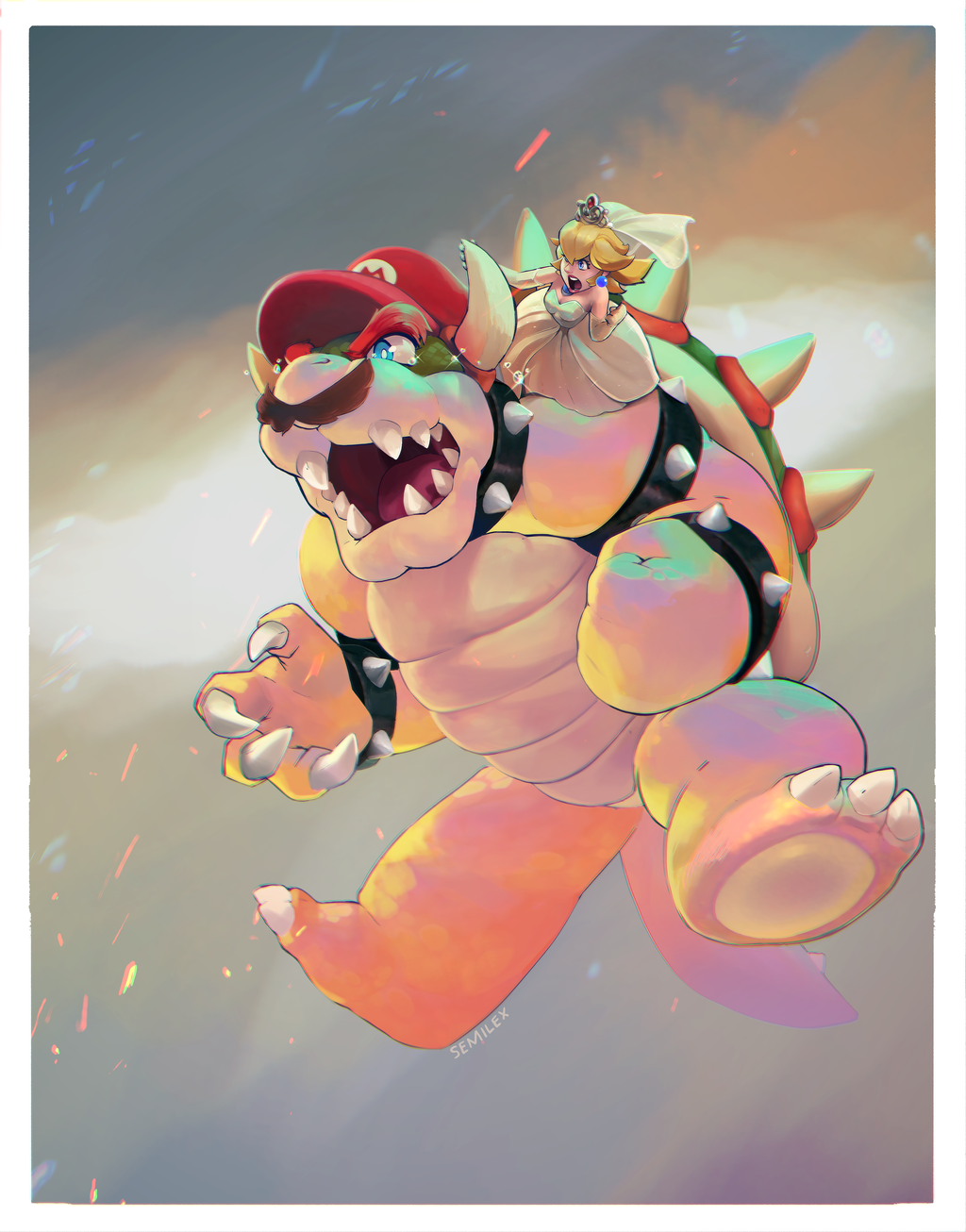1boy blonde_hair bowser dress facial_hair fangs hat highres mario mario_(series) midair monster_boy mustache open_mouth possessed princess_peach semilex spiked_shell spoilers super_mario_bros. super_mario_odyssey tears