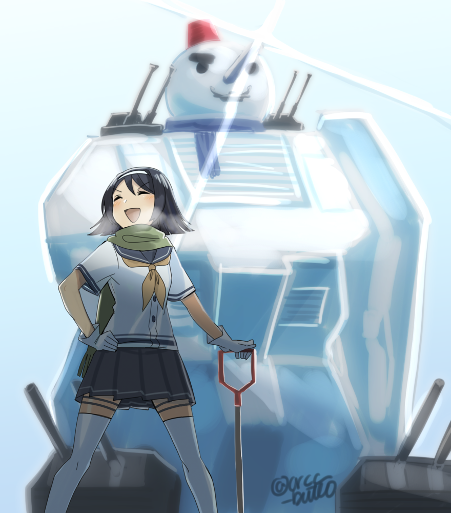 1girl black_hair blouse closed_eyes cowboy_shot gloves green_scarf gundam hairband hand_on_hip kantai_collection mobile_suit_gundam neckerchief open_mouth pleated_skirt scarf school_uniform serafuku short_hair short_sleeves shovel skirt snowman solo tanikaze_(kantai_collection) thigh-highs turrets twitter_username white_blouse white_gloves white_hairband white_legwear worktool yamashiki_(orca_buteo) yellow_neckwear