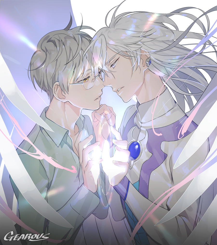 2boys artist_name card_captor_sakura dual_persona ear_piercing floating_hair gearous glasses glowing green_shirt grey_hair hand_holding long_hair multiple_boys parted_lips piercing shirt short_hair spoilers tsukishiro_yukito wind yue_(ccs)