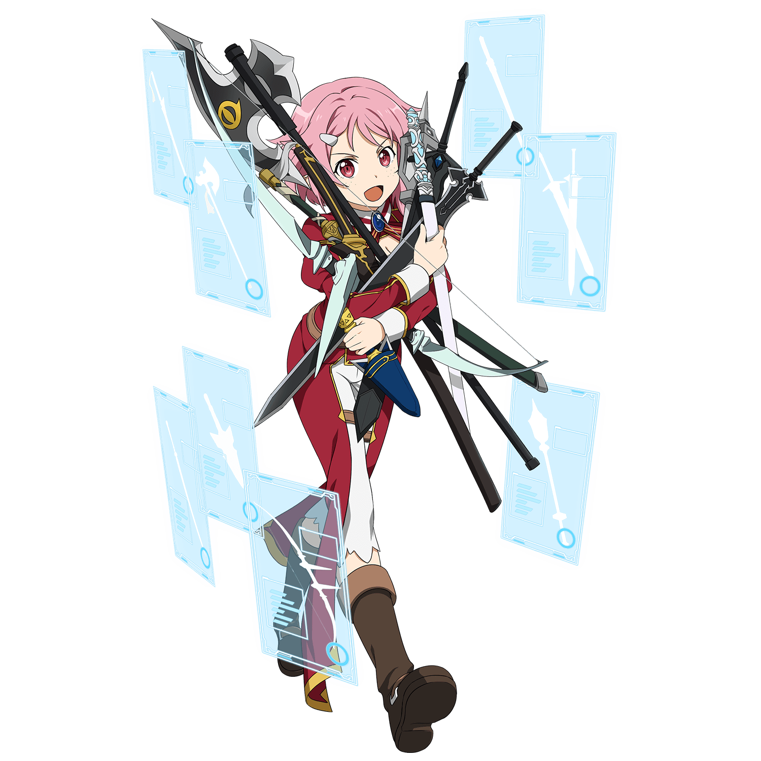 boots full_body hair_ornament hairclip highres holding holding_axe holding_sword holding_weapon interface lisbeth long_sleeves mace official_art open_mouth pink_eyes pink_hair red_eyes short_hair sword sword_art_online too_many transparent_background weapon