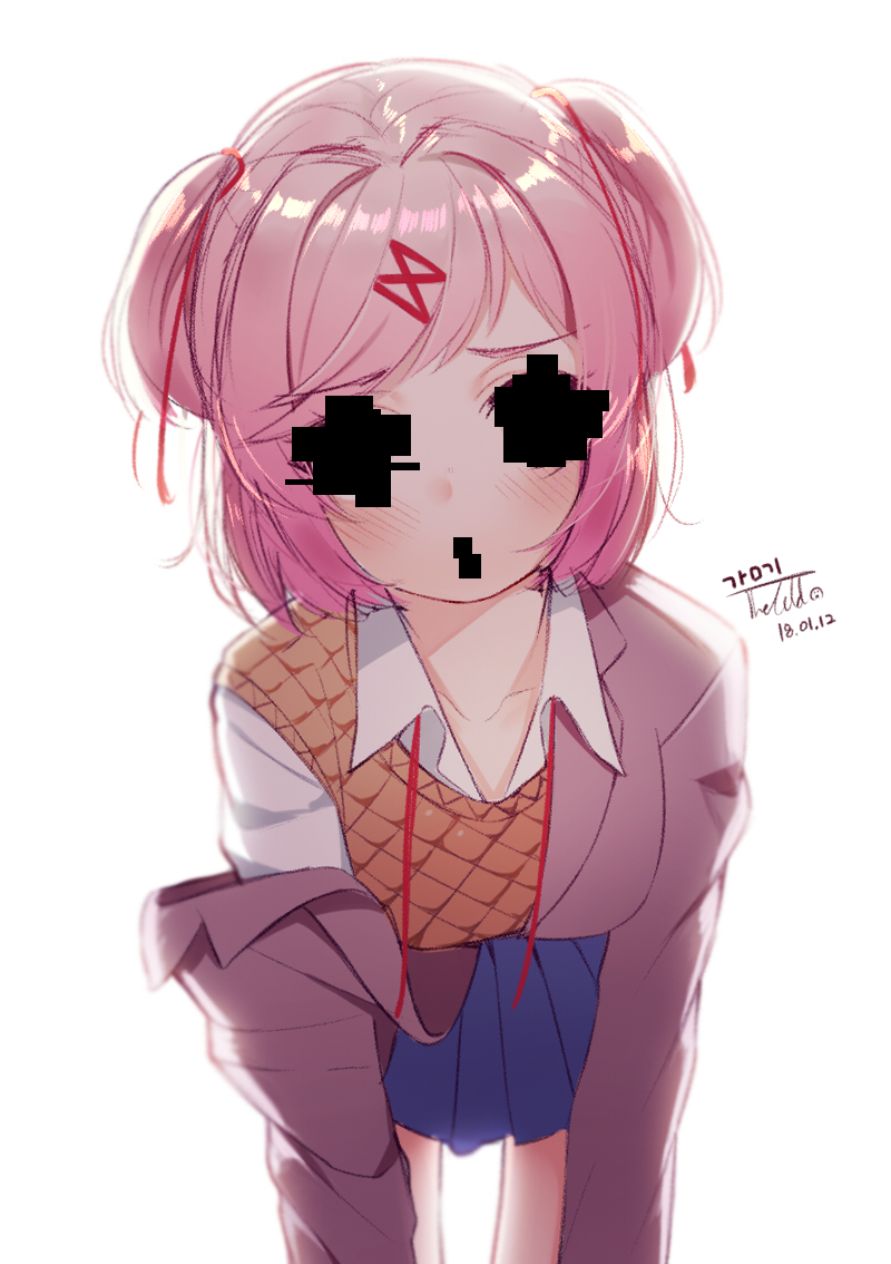 1girl :o artist_name bending_forward blazer blue_skirt blurry blush breasts collarbone collared_shirt covered_eyes covered_mouth dated doki_doki_literature_club eyebrows_visible_through_hair hair_ornament hairclip heart heart-shaped_pupils jacket long_sleeves looking_at_viewer medium_breasts natsuki_(doki_doki_literature_club) open_mouth orange_vest pink_eyes pink_hair pleated_skirt removing_jacket ribbon school_uniform shirt short_hair signature simple_background skirt solo spoilers symbol-shaped_pupils the_cold two_side_up white_background white_shirt