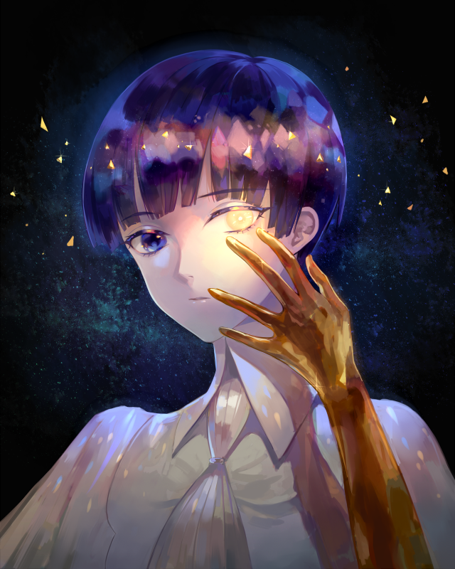 bangs blue_eyes blue_hair blunt_bangs golden_arms heterochromia houseki_no_kuni looking_at_viewer phosphophyllite phosphophyllite_(ll) short_hair solo spoilers white_eyes zek_(zecola)