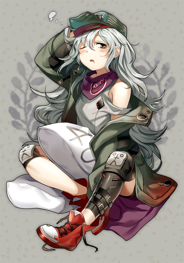 1girl ankle_boots arm_between_legs armpit_peek assault_rifle asymmetrical_legwear bangs belt blush boba boots breasts brown_eyes buckle collared_jacket drooling eyebrows_visible_through_hair g11 g11_(girls_frontline) girls_frontline gun hair_between_eyes half-closed_eye hand_on_headwear hat holding jacket knee_pads laces long_hair looking_at_viewer messy_hair no_socks off_shoulder one_eye_closed open_mouth pillow rifle saliva scarf shirt shorts shoulder_cutout sidelocks silver_hair sitting solo strap tareme thighs very_long_hair weapon