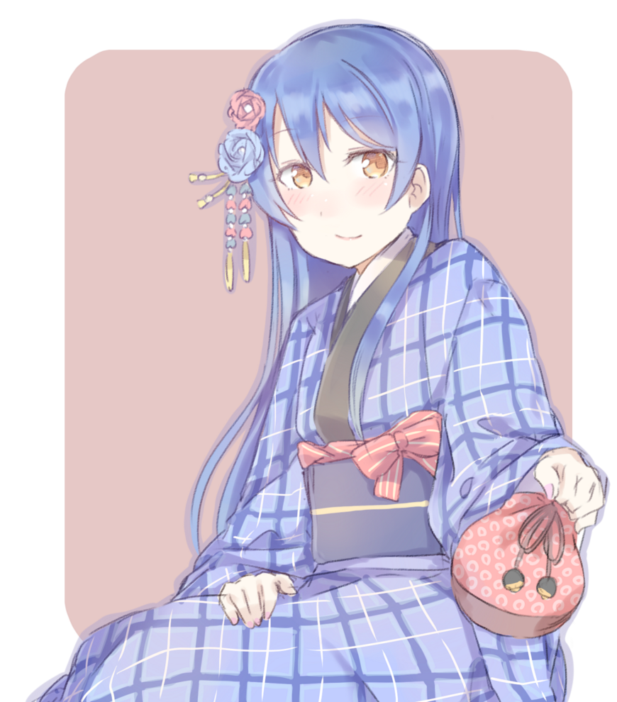 1girl bangs blue_hair blush commentary_request eyebrows_visible_through_hair flower hair_between_eyes hair_flower hair_ornament holding japanese_clothes kimono kinchaku long_hair long_sleeves looking_at_viewer love_live! love_live!_school_idol_festival love_live!_school_idol_project plaid pouch shijimi_kozou simple_background sitting smile solo sonoda_umi wide_sleeves yellow_eyes