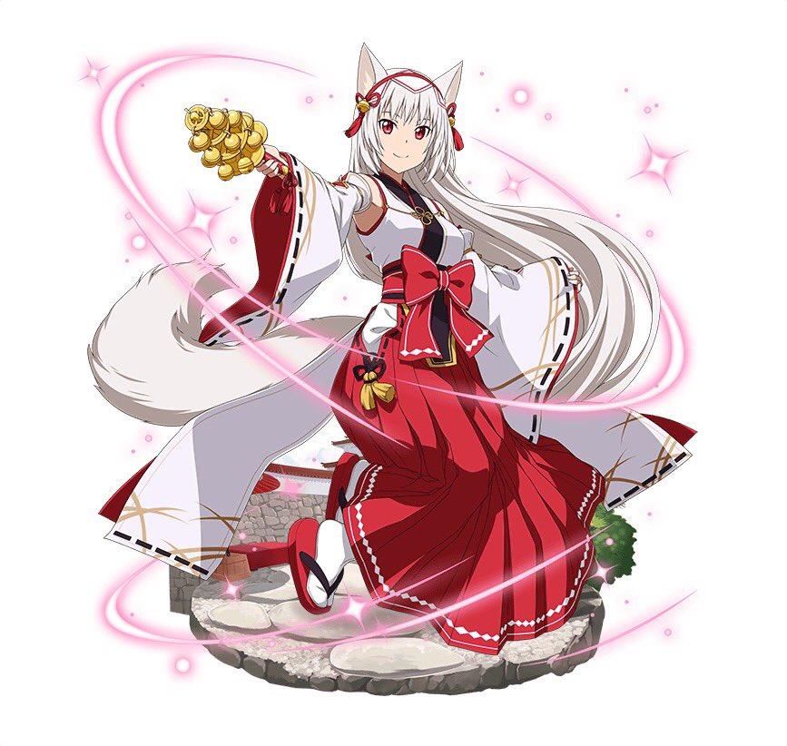 1girl animal_ears bell black_ribbon bow character_request detached_sleeves floating_hair fox_ears fox_tail full_body hair_bell hair_ornament hakama holding japanese_clothes kimono long_hair looking_at_viewer miko red_bow red_eyes red_hakama ribbon ribbon-trimmed_sleeves ribbon_trim silver_hair simple_background sleeveless sleeveless_kimono smile solo sword_art_online tail very_long_hair white_background white_legwear