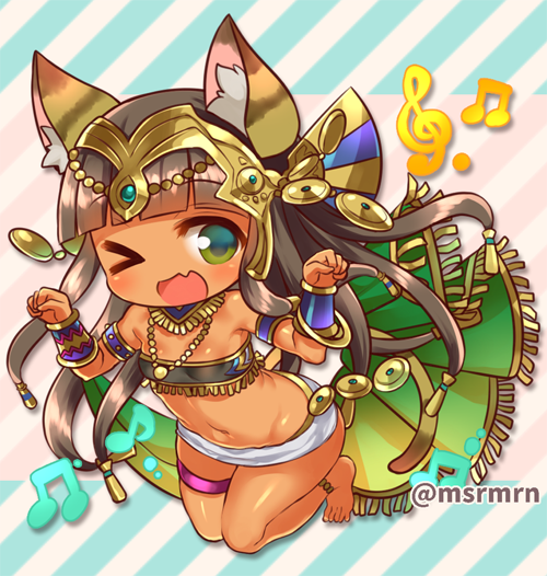 >_o 1girl ;d animal_ears anklet bandeau bangs bare_shoulders barefoot bastet_(p&d) beamed_quavers blunt_bangs blush bracelet brown_hair cat_ears cat_girl cat_tail commentary_request dark_skin diagonal-striped_background diagonal_stripes egyptian eyebrows_visible_through_hair fang full_body green_eyes jewelry long_hair looking_at_viewer marshmallow_mille midriff musical_note navel one_eye_closed open_mouth paw_pose puzzle_&_dragons skirt smile solo tail treble_clef twitter_username very_long_hair white_skirt