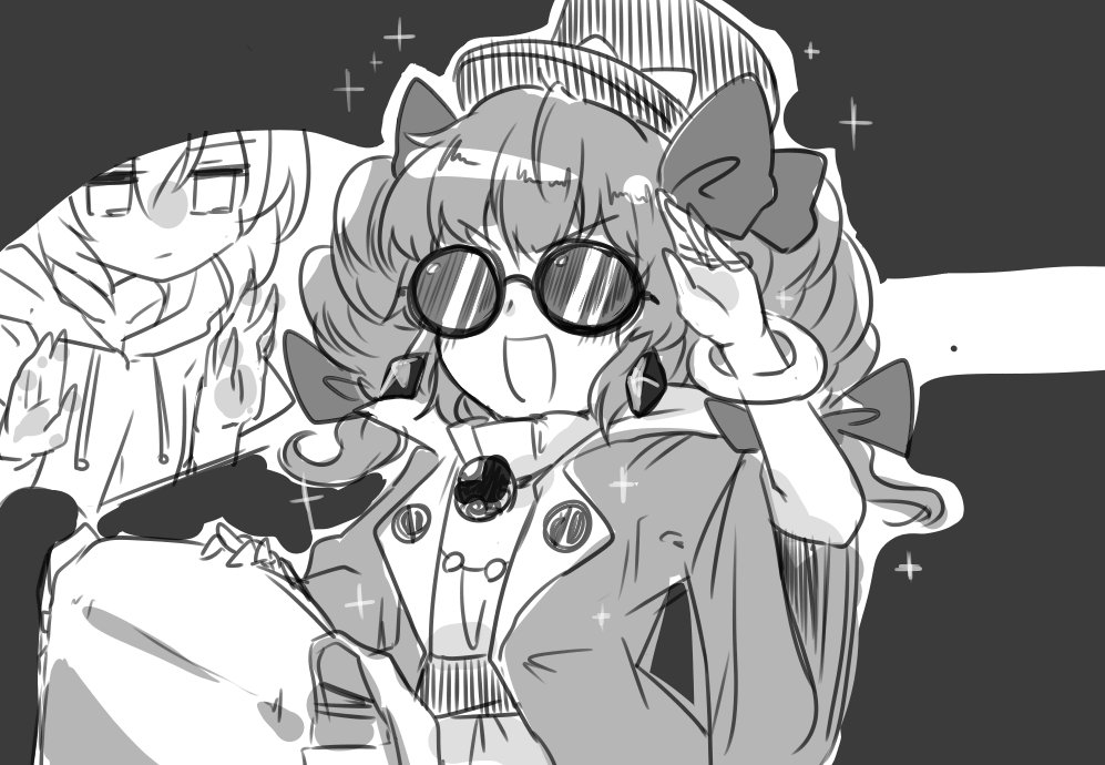 2girls against_glass bangle bow bracelet coat dress drill_hair earrings efukei hat hat_bow hood hoodie jewelry monochrome multiple_girls necklace open_mouth ribbon siblings sisters sketch smile sparkle sunglasses top_hat touhou twin_drills yorigami_jo'on yorigami_shion