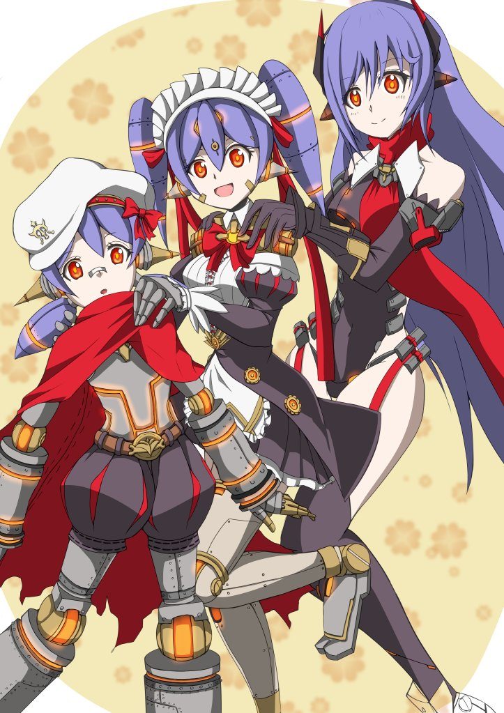 3girls age_progression android breasts dual_persona eyebrows eyelashes gloves hana_(xenoblade) hana_jd hana_jk hat horns long_hair maid maid_headdress multiple_girls open_mouth orange_eyes purple_hair ribbon robot_joints scarf short_hair smile spikes spoilers twintails xenoblade xenoblade_2