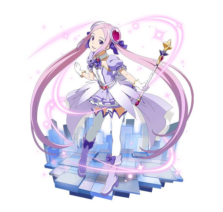 1girl :d boots bow choker collarbone floating_hair full_body gloves hair_ribbon high_heel_boots high_heels holding holding_staff layered_skirt long_hair looking_at_viewer magical_girl miniskirt open_mouth pink_hair purple_bow purple_footwear purple_neckwear purple_ribbon ribbon short_sleeves simple_background skirt smile solo staff standing sword_art_online thigh-highs tuxedo twintails very_long_hair violet_eyes white_background white_gloves white_legwear yuna_(sao) zettai_ryouiki