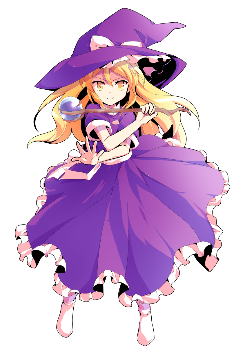 >:) 1girl alphes_(style) bangs blonde_hair bobby_socks bow closed_mouth dairi dress eyebrows eyebrows_visible_through_hair frilled_dress frilled_hat frills full_body hair_between_eyes hat hat_bow highres holding holding_wand kirisame_marisa kirisame_marisa_(pc-98) legs_apart long_hair orb palms parody pose purple_dress scepter short_sleeves sidelocks simple_background smile socks solo standing style_parody touhou transparent_background v-shaped_eyebrows wand white_bow white_legwear witch witch_hat yellow_eyes