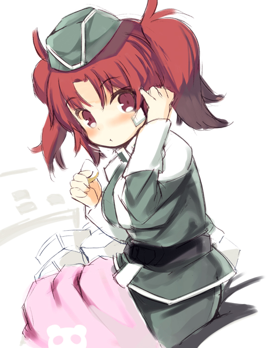 1girl bandage bangs blush closed_mouth eyebrows_visible_through_hair garrison_cap green_hat green_jacket green_skirt gundam gundam_seed gundam_seed_destiny hat jacket kurasuke long_sleeves looking_at_viewer looking_to_the_side meyrin_hawke military military_jacket military_uniform red_eyes redhead sidelocks skirt solo twintails uniform