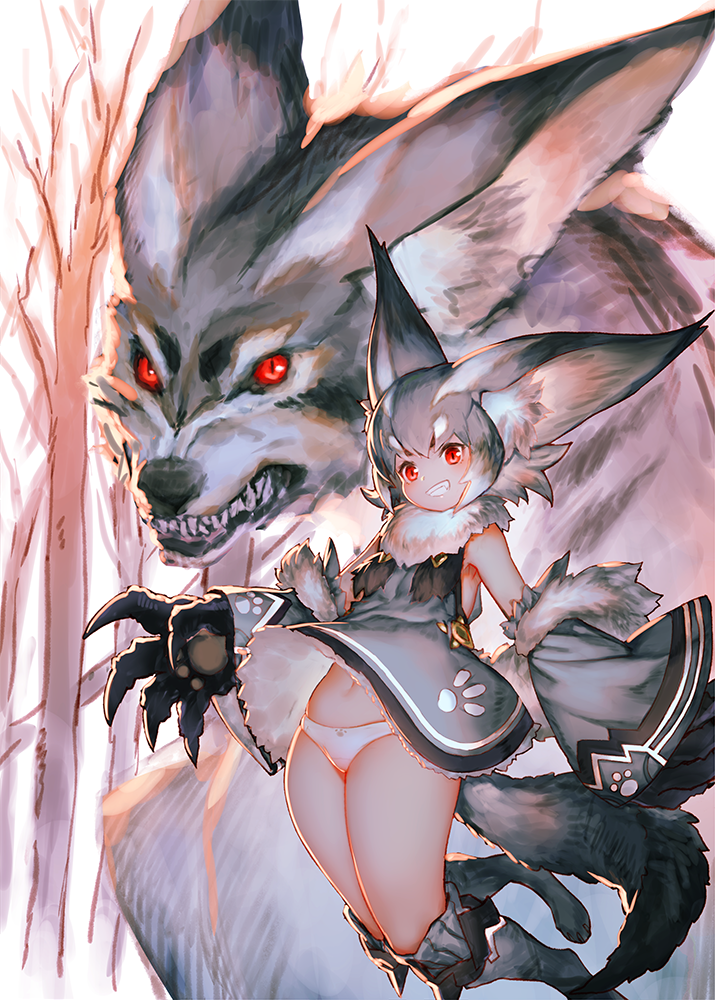 1girl animal_ears bangs boots breasts claws commentary_request copyright_request detached_sleeves forest fur_collar fur_trim grin izumi_sai jumping looking_at_viewer nature navel panties red_eyes short_hair silver_hair small_breasts smile solo tail tree underwear white_panties wind wind_lift wolf wolf_ears wolf_tail