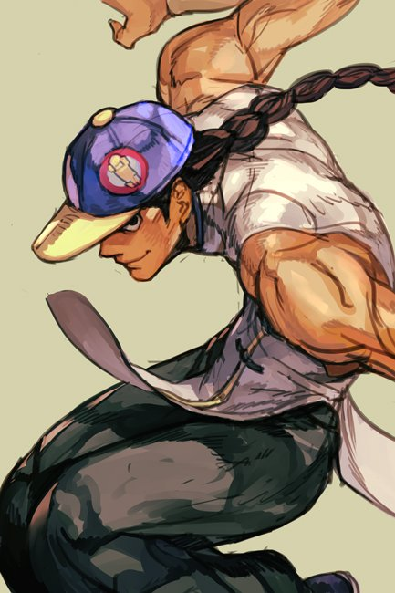 1boy bare_shoulders baseball_cap black_hair black_pants braid closed_mouth fighting_stance green_background hankuri hat long_hair male_focus muscle open_eyes pants shirt single_braid solo street_fighter white_shirt yun_lee