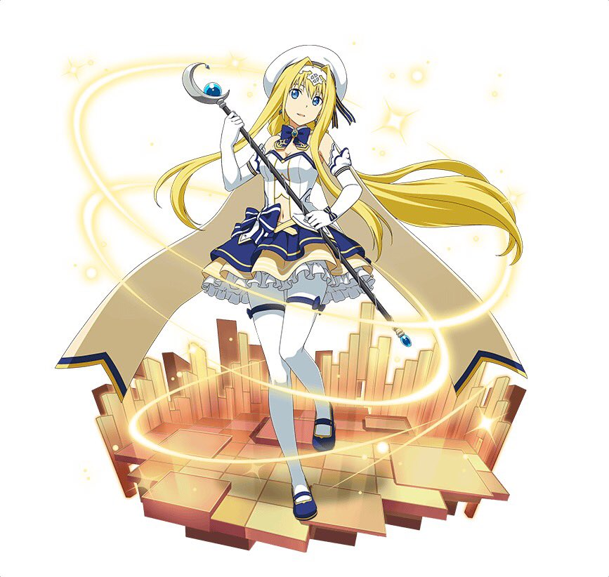 1girl alice_schuberg blonde_hair blue_bow blue_eyes blue_footwear blue_neckwear bow breasts choker cleavage elbow_gloves floating_hair full_body gloves hair_between_eyes hair_ribbon hairband hat head_tilt holding holding_staff layered_skirt long_hair looking_at_viewer magical_girl mary_janes medium_breasts midriff miniskirt navel one_leg_raised pantyhose parted_lips ribbon shoes simple_background skirt smile solo staff standing standing_on_one_leg stomach strapless striped striped_ribbon sword_art_online thigh_strap very_long_hair white_background white_gloves white_hairband white_hat white_legwear