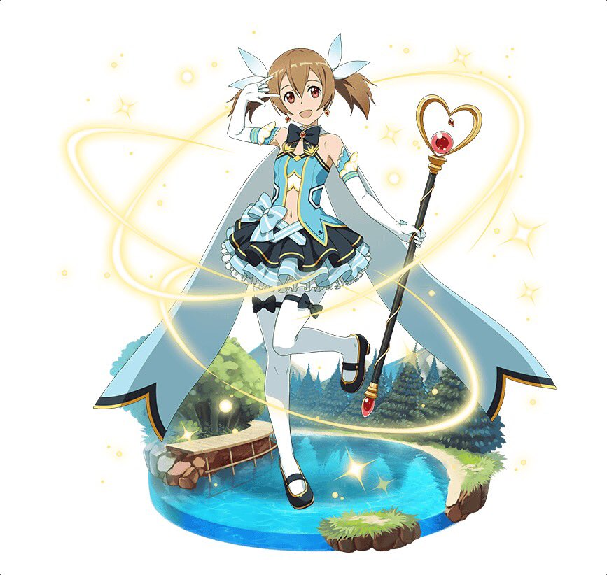 1girl :d black_bow black_footwear black_neckwear blue_ribbon bow brown_eyes brown_hair earrings elbow_gloves gloves hair_bow hair_ribbon holding holding_staff jewelry layered_skirt long_hair looking_at_viewer magical_girl mary_janes midriff miniskirt navel one_leg_raised open_mouth pantyhose ribbon shoes silica simple_background skirt smile solo staff standing standing_on_one_leg stomach sword_art_online thigh_strap twintails white_background white_gloves white_legwear