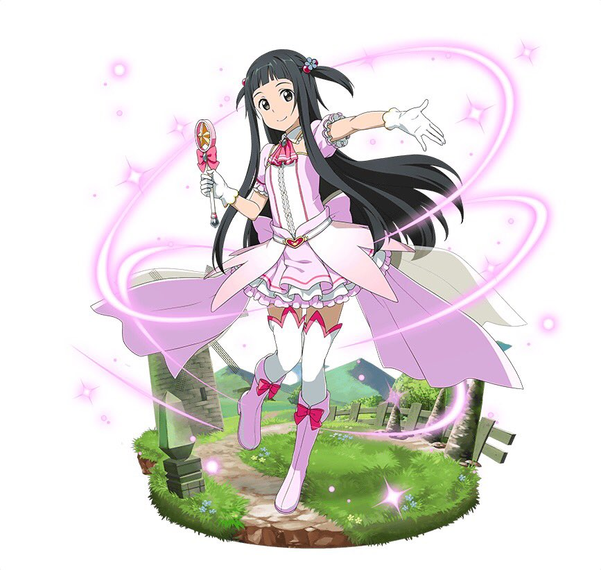 1girl black_eyes black_hair boots bow floating_hair full_body gloves hair_bobbles hair_ornament holding holding_staff layered_skirt long_hair looking_at_viewer magical_girl miniskirt outstretched_arm pink_footwear pink_neckwear pink_skirt red_bow short_sleeves simple_background skirt smile solo staff sword_art_online thigh-highs tuxedo two_side_up very_long_hair white_background white_gloves white_legwear yui_(sao)
