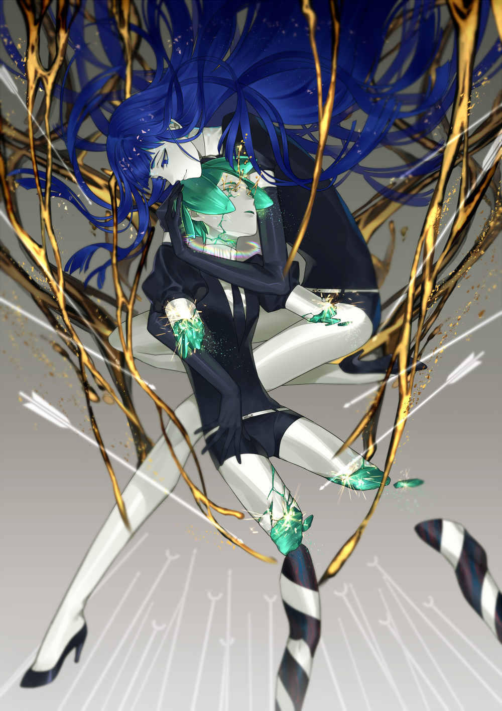 androgynous blue_eyes blue_hair broken cao_hong_anh closed_eyes crack elbow_gloves gem_uniform_(houseki_no_kuni) gloves gold green_hair highres houseki_no_kuni hug lapis_lazuli_(houseki_no_kuni) long_hair necktie phosphophyllite short_hair shorts smile spoilers uniform