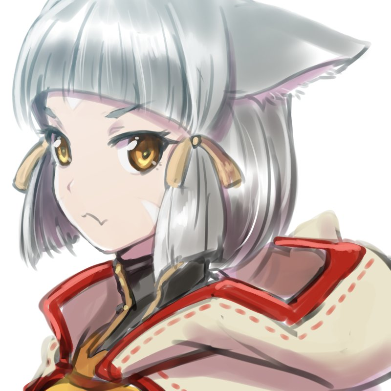 1girl animal_ears bangs blunt_bangs bodysuit cat_ears looking_at_viewer niyah short_hair silver_hair simple_background solo xenoblade xenoblade_2 yazwo yellow_eyes