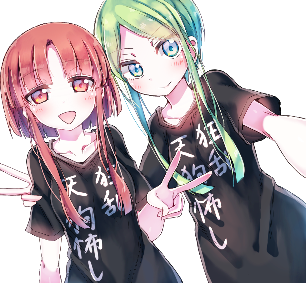 2girls alternate_costume arm_around_shoulder bangs black_shirt brown_eyes brown_hair clothes_writing eyebrows_visible_through_hair green_eyes green_hair looking_at_viewer multiple_girls nishida_satono open_mouth parted_bangs re-ka shirt short_hair_with_long_locks short_sleeves sidelocks simple_background smile t-shirt teireida_mai touhou v white_background
