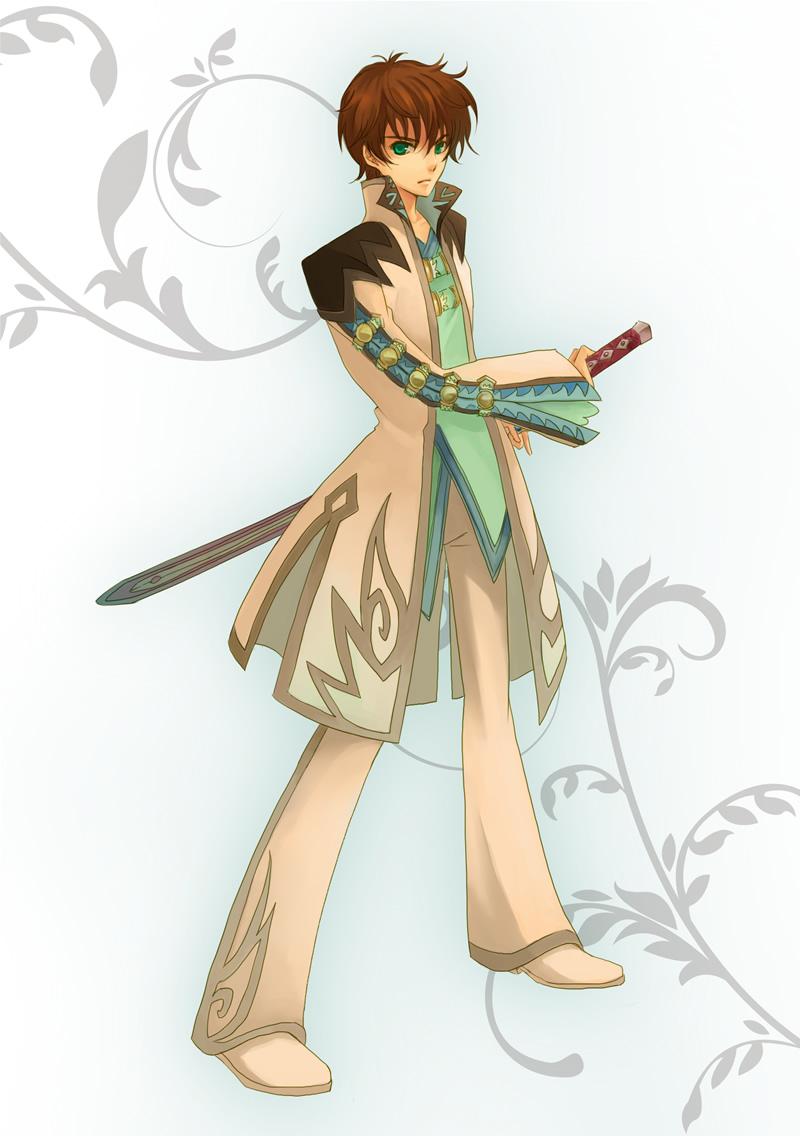 asbel_lhant asbel_lhant_(cosplay) brown_hair code_geass cosplay green_eyes kururugi_suzaku male parody ready_to_draw sakurai_takahiro seiyuu_connection seiyuu_joke sheath sheathed sia siratama_anmitsu solo sword tales_of_(series) tales_of_graces weapon