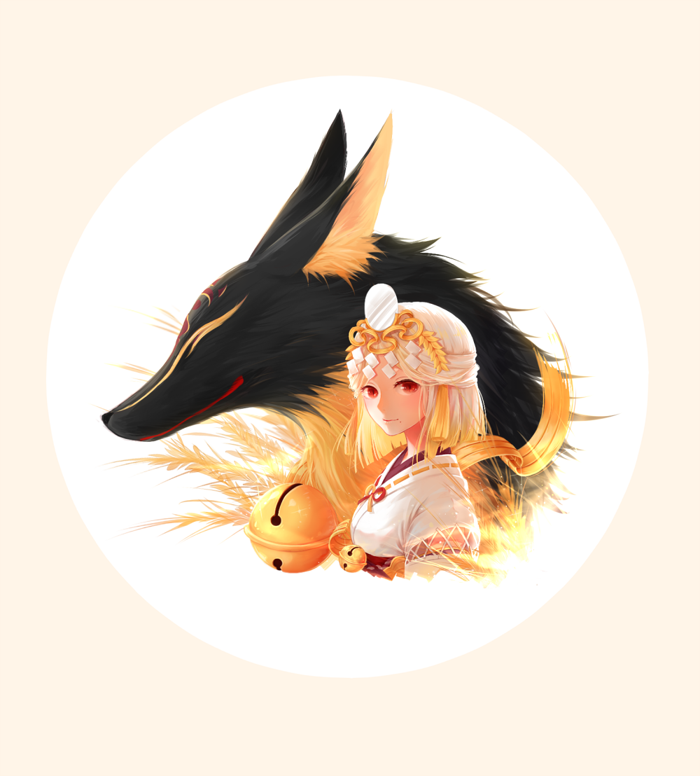 1girl animal bangs bell closed_mouth fox headpiece japanese_clothes jingle_bell kimono looking_at_viewer mole mole_under_mouth onmyouji original oversized_animal parted_bangs red_eyes ribbon_trim silentcity smile solo tassel two-tone_background upper_body white_kimono