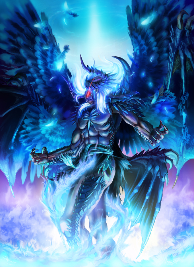 1boy abs blue_fire claws commentary_request demon demon_boy demon_horns demon_wings fallen_angel fantasy feathers fire glowing glowing_eyes glowing_hair horns long_hair lucifer_(shin_megami_tensei) multiple_wings red_eyes scales shin_megami_tensei sive solo spines teeth wings