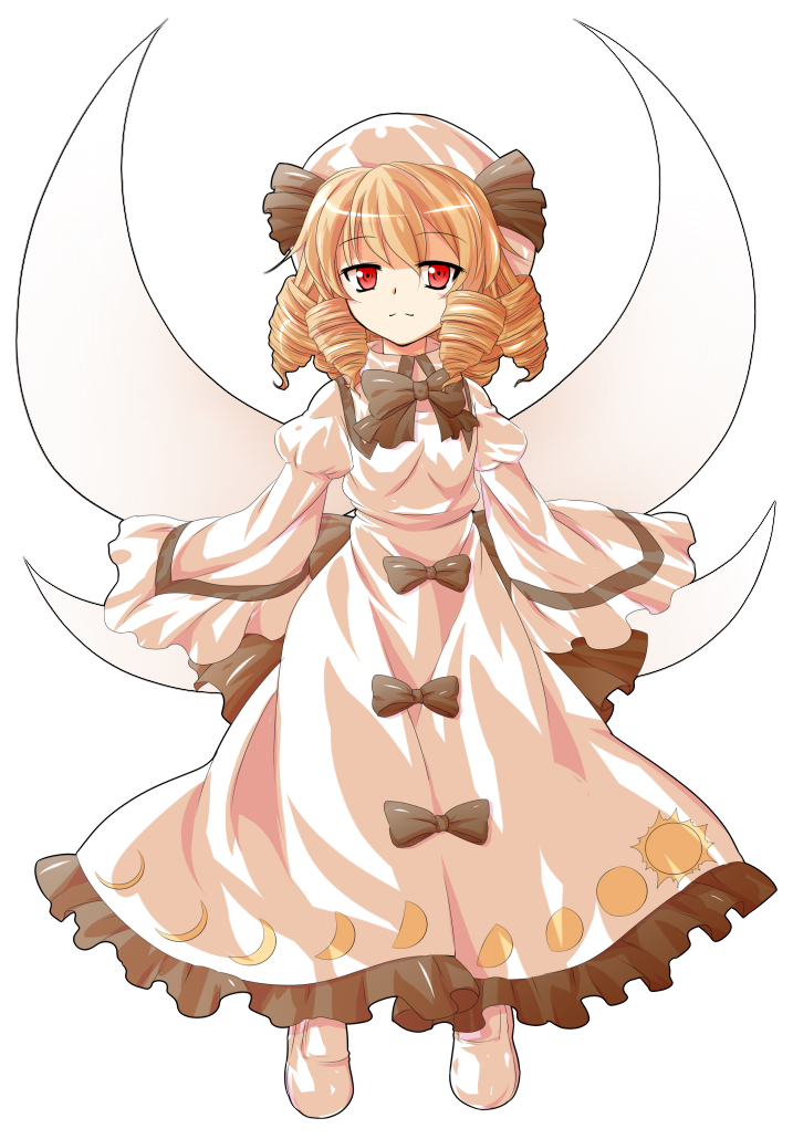 1girl alphes_(style) bangs black_bow black_neckwear black_ribbon blonde_hair bow bowtie collared_dress crescent_moon dairi dress drill_hair eyebrows eyebrows_visible_through_hair fairy fairy_wings frilled_dress frills full_body hair_between_eyes hat hat_ribbon long_sleeves luna_child moon moon_print parody puffy_long_sleeves puffy_sleeves red_eyes ribbon shoes short_hair simple_background solo style_parody tachi-e touhou transparent_background white_dress white_footwear white_hat wide_sleeves wings