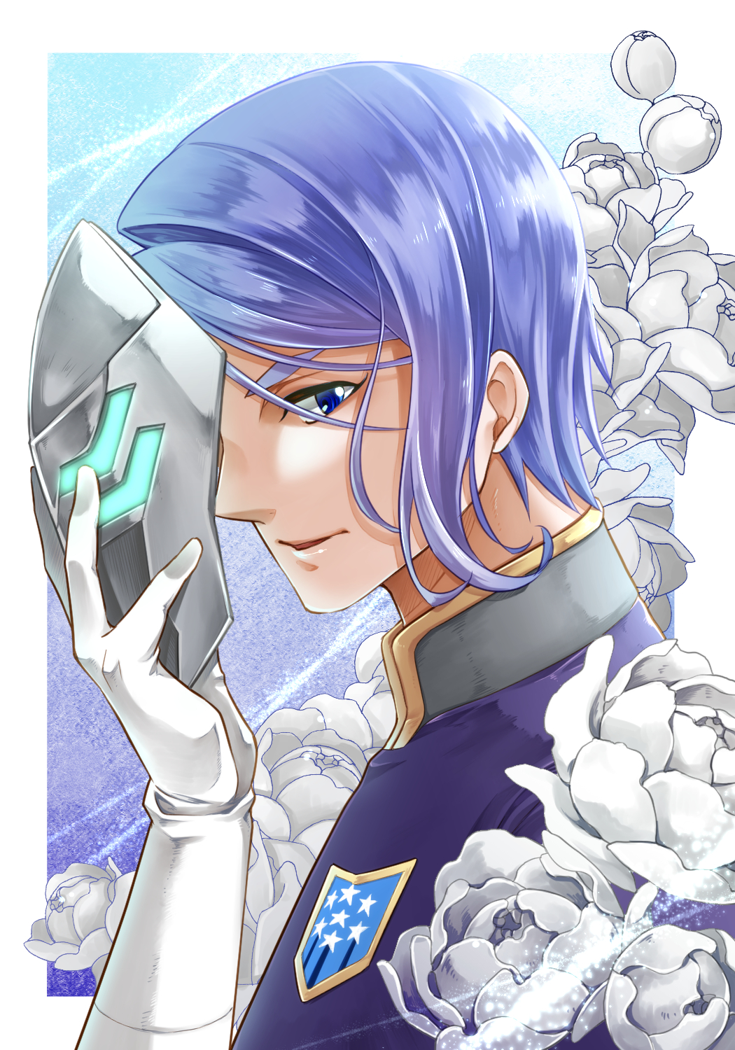 1boy blue_eyes flower gaelio_bauduin gloves gundam gundam_tekketsu_no_orphans highres ichino_tomizuki insignia looking_at_viewer male_focus mask mask_removed portrait purple_hair white_gloves