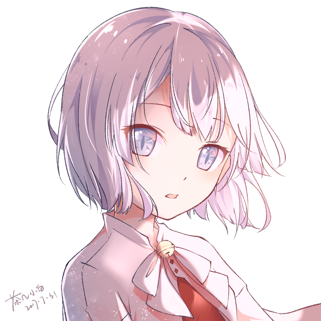 1girl artist_name bangs bell chaji_xiao_bai commentary_request dated jingle_bell looking_at_viewer open_mouth original parted_lips portrait shirt short_hair signature simple_background solo white_background white_eyes white_hair white_shirt