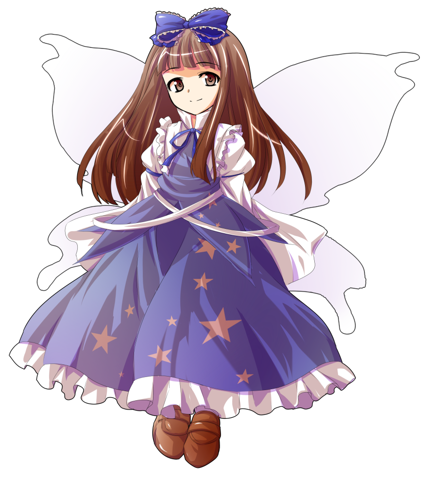 1girl alphes_(style) bangs blue_bow blue_ribbon blue_shirt blue_skirt blunt_bangs bow brown_eyes brown_footwear brown_hair closed_mouth dairi eyebrows eyebrows_visible_through_hair fairy fairy_wings frilled_bow frilled_skirt frills hair_bow juliet_sleeves loafers long_hair long_skirt long_sleeves parody puffy_long_sleeves puffy_sleeves ribbon shirt shoes skirt skirt_set smile solo star_sapphire straight_hair style_parody tachi-e touhou wings
