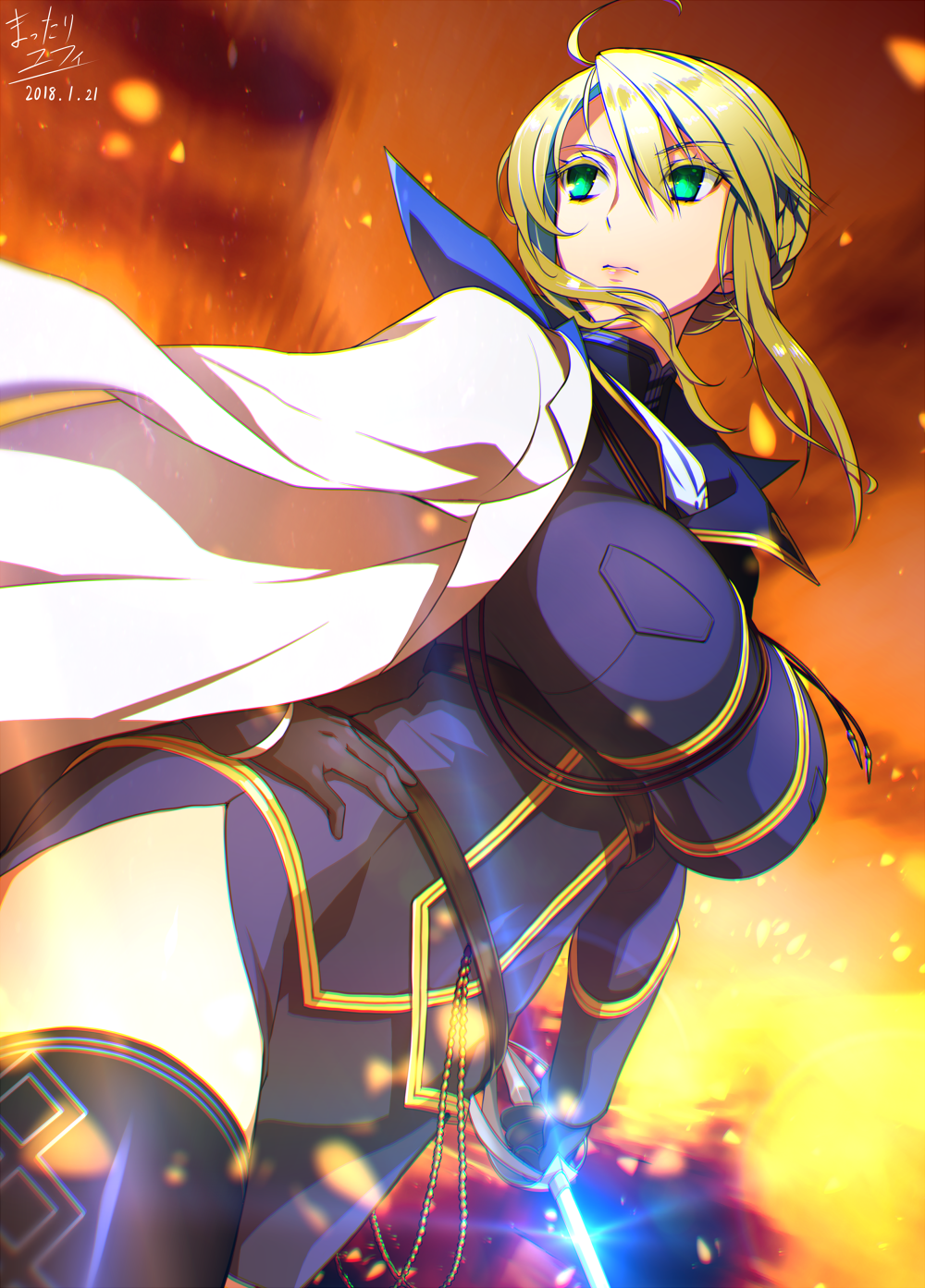 1girl 2018 ahoge artist_name artoria_pendragon_(all) artoria_pendragon_(lancer) belt black_gloves blonde_hair breasts cape commentary_request dated embers epee fate/grand_order fate_(series) gloves green_eyes hair_between_eyes highres holding holding_sword holding_weapon large_breasts mattari_yufi sidelocks solo sword thigh-highs tight_top upper_body weapon zettai_ryouiki