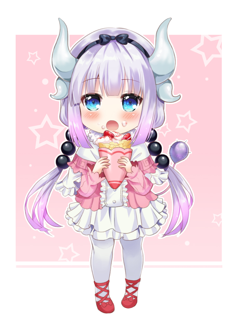 1girl arms_up bangs beads blue_eyes blue_hairband blush blush_stickers bow commentary_request dragon_girl dragon_horns dress eyebrows_visible_through_hair food fruit gradient gradient_background hair_between_eyes hair_ornament hairband hands_up holding horns ice_cream ice_cream_cone kanna_kamui kobayashi-san_chi_no_maidragon long_hair long_sleeves looking_at_viewer multicolored multicolored_clothes multicolored_dress open_mouth puffy_long_sleeves puffy_sleeves purple_hair red_footwear shangguan_feiying solo standing star starry_background strawberry translation_request twintails white_legwear