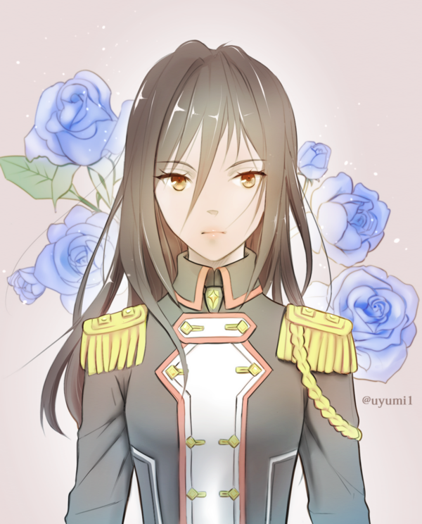 1girl artist_request gloves hat long_hair looking_at_viewer meleph_(xenoblade) military military_hat military_uniform pauldrons reverse_trap simple_background solo uniform xenoblade xenoblade_2