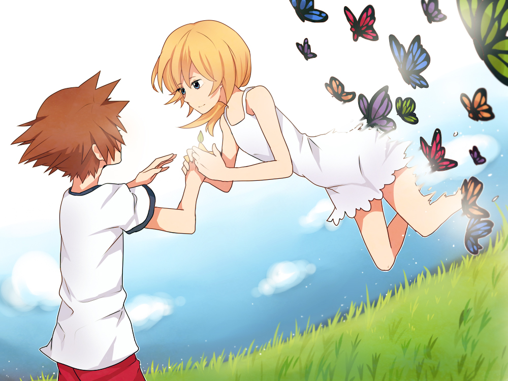 1boy 1girl bad_id bad_pixiv_id blonde_hair dress karudoll kingdom_hearts kingdom_hearts_ii namine short_hair sundress white_dress younger