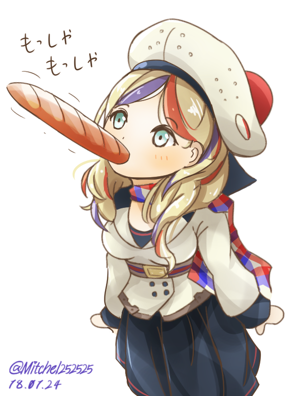 1girl arms_at_sides baguette beret blonde_hair blue_dress blue_eyes blue_hair blush bread breasts commandant_teste_(kantai_collection) commentary_request dated double-breasted dress eating food food_in_mouth hat jacket kantai_collection medium_breasts miccheru mouth_hold multicolored_hair plaid plaid_scarf pom_pom_(clothes) redhead scarf simple_background solo streaked_hair translation_request twitter_username white_background white_hat white_jacket