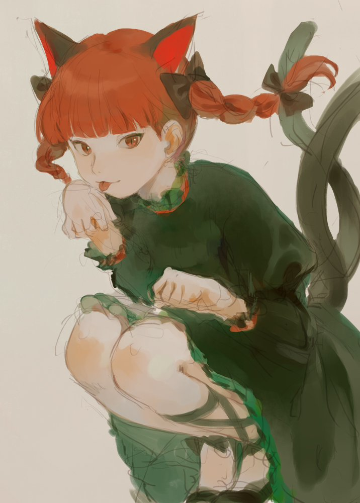 1girl animal_ears bangs black_footwear bow braid cat_ears cat_tail dress extra_ears green_dress hair_bow kaenbyou_rin kagari_(kgr_000) licking licking_hand long_hair looking_at_viewer multiple_tails nekomata red_eyes redhead shoes simple_background smile solo tail tongue tongue_out touhou twin_braids