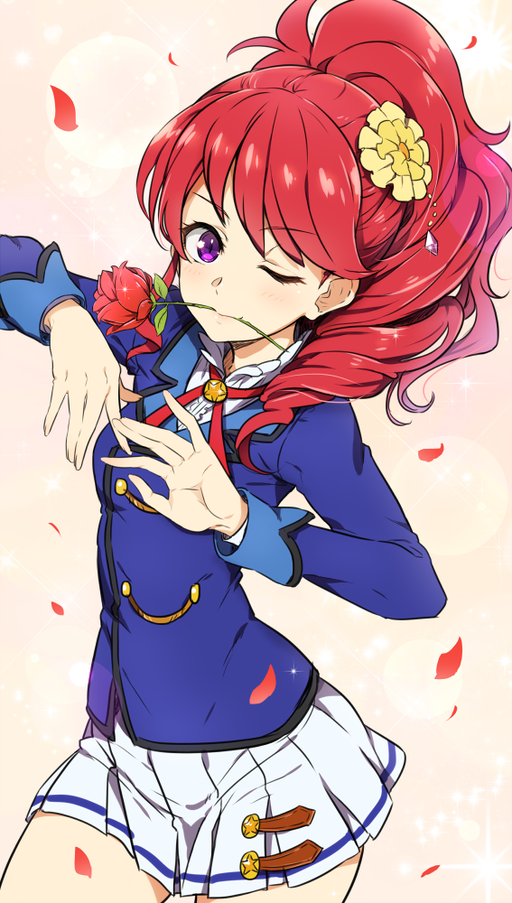 1girl aikatsu! blush cowboy_shot eyebrows_visible_through_hair flower flower_in_mouth hair_flower hair_ornament kurebayashi_juri lens_flare long_hair looking_at_viewer minatsuki_randoseru one_eye_closed petals ponytail pose redhead rose school_uniform skirt smile solo sparkle starlight_academy_uniform violet_eyes