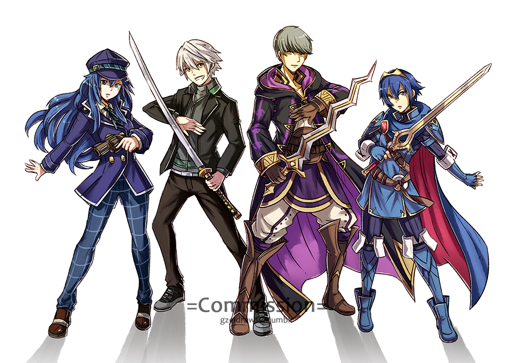 2boys 2girls armor blue_hair cape cloak cosplay crossover fire_emblem fire_emblem:_kakusei gun gzei handgun hat holding holding_gun holding_sword holding_weapon jacket katana long_hair male_my_unit_(fire_emblem:_kakusei) multiple_boys multiple_girls my_unit_(fire_emblem:_kakusei) narukami_yuu persona persona_4 revolver shirogane_naoto smile sword weapon white_hair