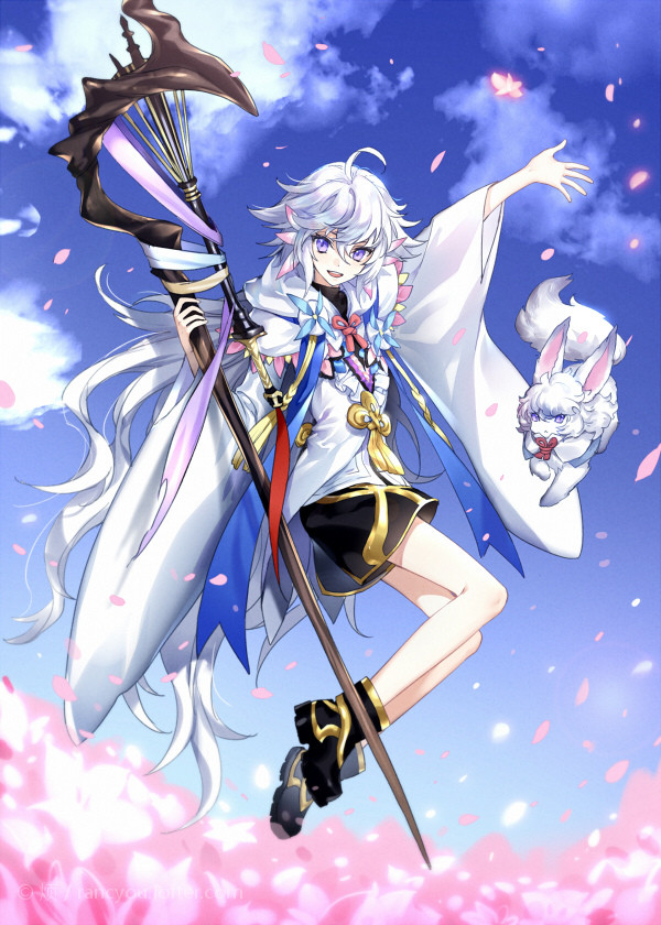 :d ahoge ankle_boots black_footwear black_shorts blue_sky boots breasts cherry_blossoms clouds cloudy_sky creature fate/grand_order fate_(series) fou_(fate/grand_order) hair_between_eyes hand_up holding jumping kangetsu_(fhalei) long_hair long_sleeves looking_at_viewer merlin_(fate/stay_night) open_mouth petals ponytail shorts silver_hair sky smile staff very_long_hair violet_eyes wide_sleeves