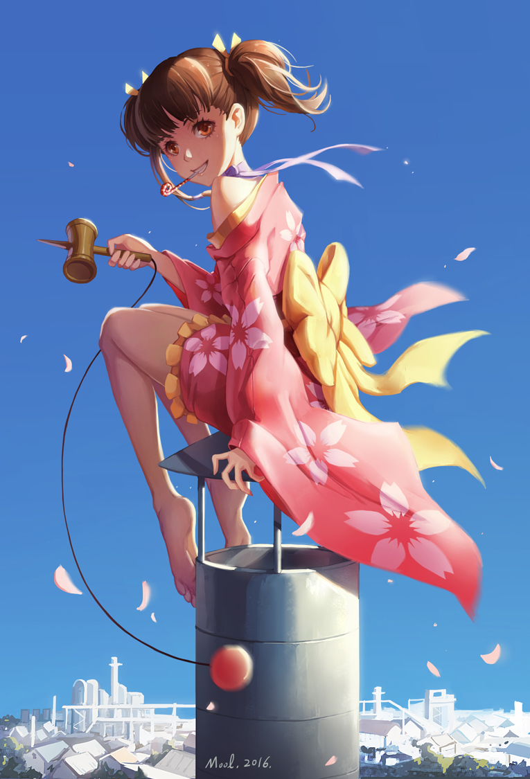 1girl bare_shoulders barefoot blue_sky brown_hair city commentary_request dated day from_side full_body grin japanese_clothes kendama kimono koutetsujou_no_kabaneri looking_at_viewer mool_yueguang mumei_(kabaneri) off_shoulder orange_eyes parted_lips petals plantar_flexion revision ribbon sitting sky smile solo teeth twintails wind