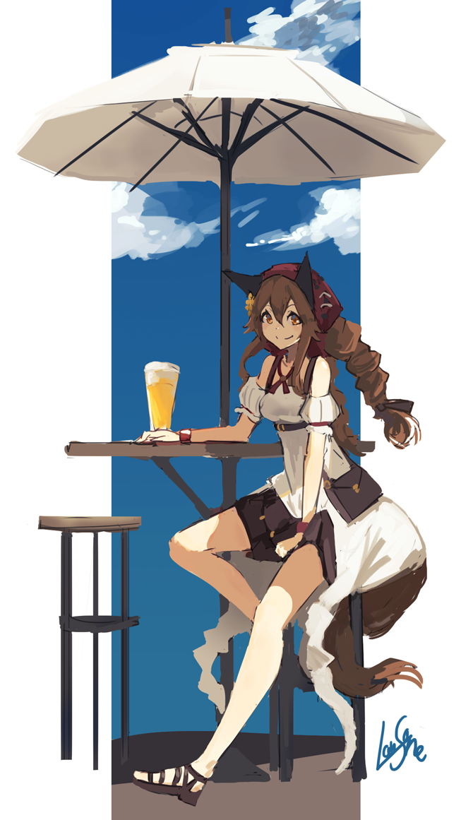 1girl alcohol animal_ears bag bangs bare_shoulders beer between_legs black_skirt blue_sky bracelet braid breasts brown_eyes brown_hair closed_mouth clouds cup day dot_nose dress drinking_glass hair_between_eyes hand_between_legs hand_on_table jewelry lansane long_hair looking_at_viewer medium_breasts original outdoors parasol sandals shoulder_bag signature sitting skirt sky smile solo stool table tail tsana_(lansane) umbrella white_dress wolf_ears wolf_tail wristband
