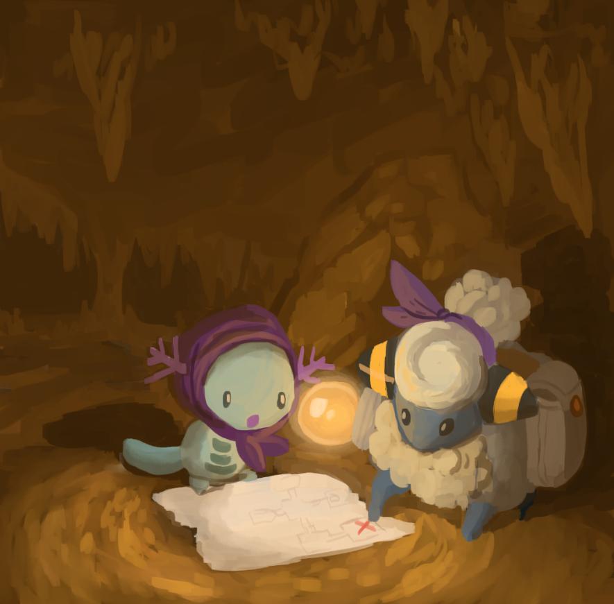 cave drawfag fushigi_no_dungeon map mareep no_humans pokemon pokemon_(creature) pokemon_fushigi_no_dungeon saddlebags scarf shadow stalactite wooper