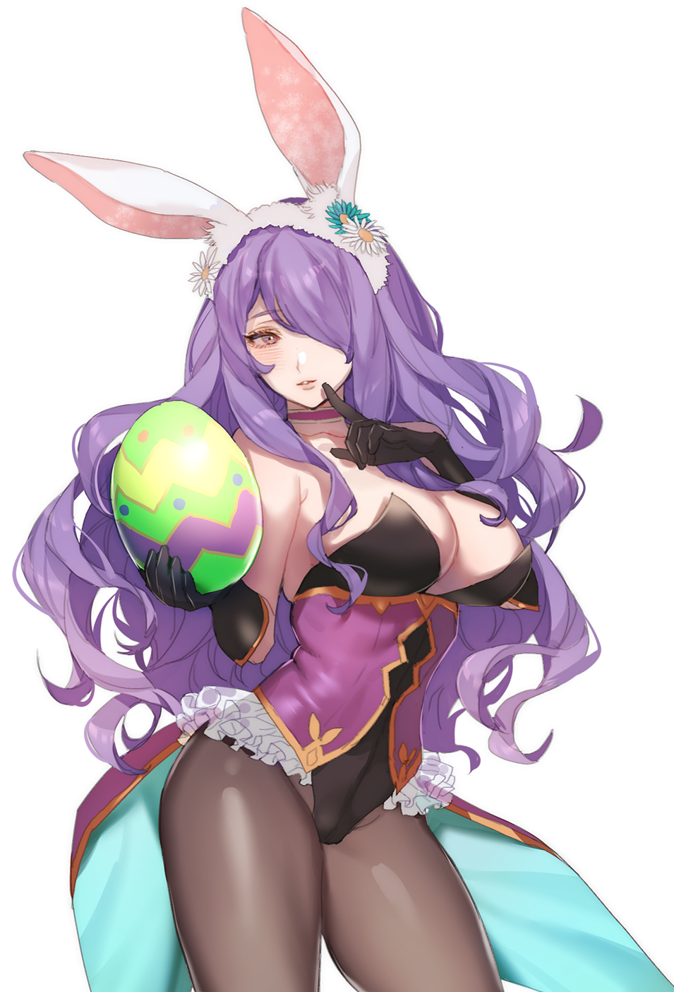 1girl animal_ears bare_shoulders breasts bunny_girl bunnysuit camilla_(fire_emblem_if) cleavage detached_collar egg fake_animal_ears fire_emblem fire_emblem_heroes fire_emblem_if gloves hair_over_one_eye highres large_breasts lips long_hair looking_at_viewer pantyhose purple_hair rabbit_ears solo tiara very_long_hair violet_eyes wavy_hair wrist_cuffs zuizi