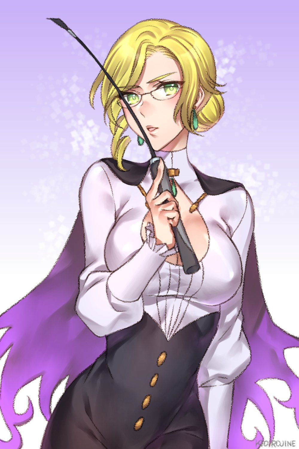 1girl blonde_hair breasts cape check_commentary cleavage cleavage_cutout commentary_request glynda_goodwitch green_eyes highres kio_rojine riding_crop rwby solo