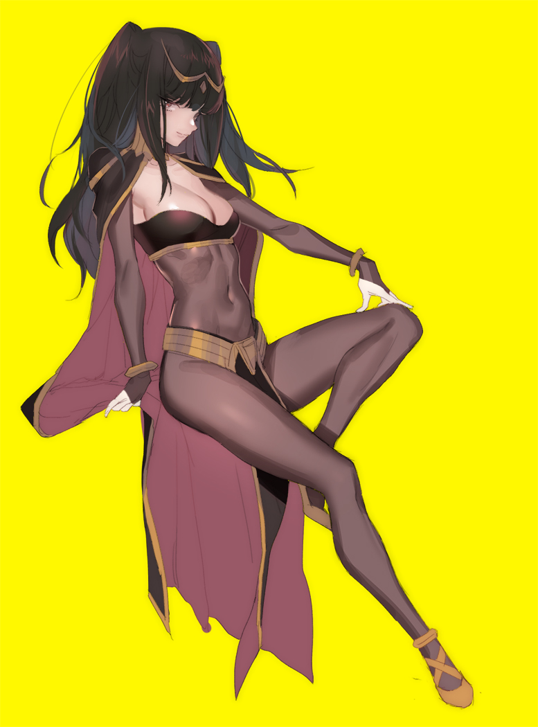 1girl black_hair bodysuit bracelet breasts bridal_gauntlets cape cleavage fire_emblem fire_emblem:_kakusei jewelry long_hair looking_at_viewer medium_breasts smile solo tharja tiara two_side_up violet_eyes zuizi