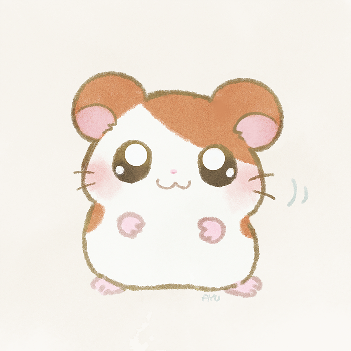 :3 ayu_(mog) blush chibi closed_mouth commentary_request full_body hamster hamtaro hamtaro_(hamtaro) looking_at_viewer no_humans pink_background simple_background solo standing whiskers