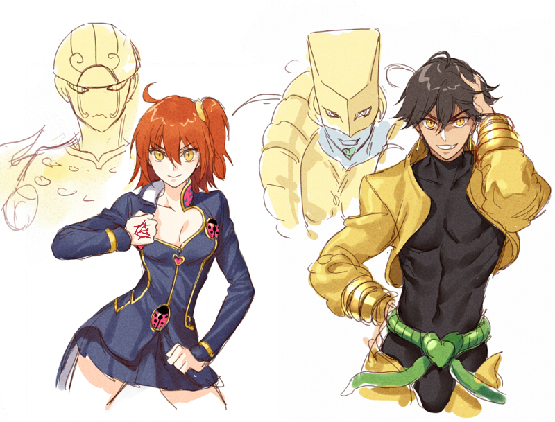 1boy 1girl abs belt black_hair black_shirt blue_jacket breasts cleavage cleavage_cutout command_spell contrapposto cosplay dio_brando dio_brando_(cosplay) fate/grand_order fate_(series) fujimaru_ritsuka_(female) giorno_giovanna giorno_giovanna_(cosplay) gold_experience grin hair_between_eyes hair_ornament hair_scrunchie hand_in_hair hand_on_hip hand_up heart_cutout jacket jojo_no_kimyou_na_bouken jojo_pose kangetsu_(fhalei) long_sleeves looking_at_viewer one_side_up open_clothes open_jacket ozymandias_(fate) pants pose redhead scrunchie shirt simple_background smile stand_(jojo) standing stardust_crusaders the_world vento_aureo white_background yellow_eyes yellow_jacket yellow_pants