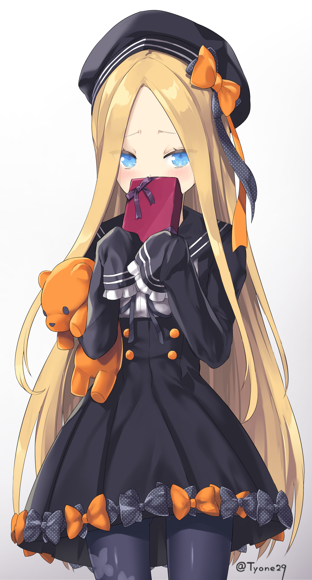 1girl abigail_williams_(fate/grand_order) animal_print bangs black_bow black_dress black_hat black_legwear blonde_hair blue_eyes blush bow box butterfly_print covering_mouth dress fate/grand_order fate_(series) forehead gift gift_box hat highres holding holding_stuffed_animal long_hair long_sleeves looking_at_viewer orange_bow pantyhose parted_bangs polka_dot polka_dot_bow print_legwear sailor_collar sailor_dress sailor_hat simple_background sleeves_past_wrists solo stuffed_animal stuffed_toy teddy_bear twitter_username valentine very_long_hair white_background yyo