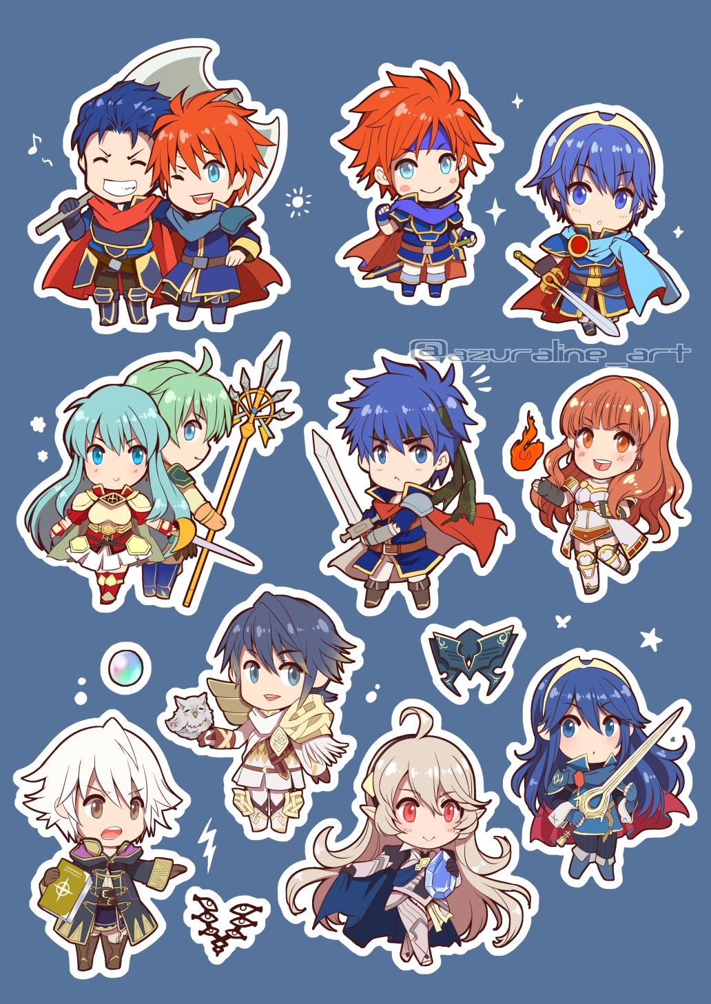 alfonse_(fire_emblem) aqua_hair armor artist_request axe barefoot bird blue_cape blue_eyes blue_hair brother_and_sister cape celica_(fire_emblem) closed_eyes dress earrings eirika eliwood_(fire_emblem) ephraim falchion_(fire_emblem) feh_(fire_emblem_heroes) female_my_unit_(fire_emblem_if) fingerless_gloves fire_emblem fire_emblem:_fuuin_no_tsurugi fire_emblem:_kakusei fire_emblem:_monshou_no_nazo fire_emblem:_rekka_no_ken fire_emblem:_seima_no_kouseki fire_emblem:_souen_no_kiseki fire_emblem_echoes:_mou_hitori_no_eiyuuou fire_emblem_heroes fire_emblem_if gloves green_hair hair_between_eyes hair_ornament hairband headband hector_(fire_emblem) highres ike jewelry long_hair looking_at_viewer lucina male_my_unit_(fire_emblem:_kakusei) mamkute marth mask multiple_boys multiple_girls my_unit_(fire_emblem:_kakusei) my_unit_(fire_emblem_if) open_mouth owl pointy_ears red_eyes redhead roy_(fire_emblem) short_hair siblings silver_hair skirt smile sword thigh-highs tiara weapon