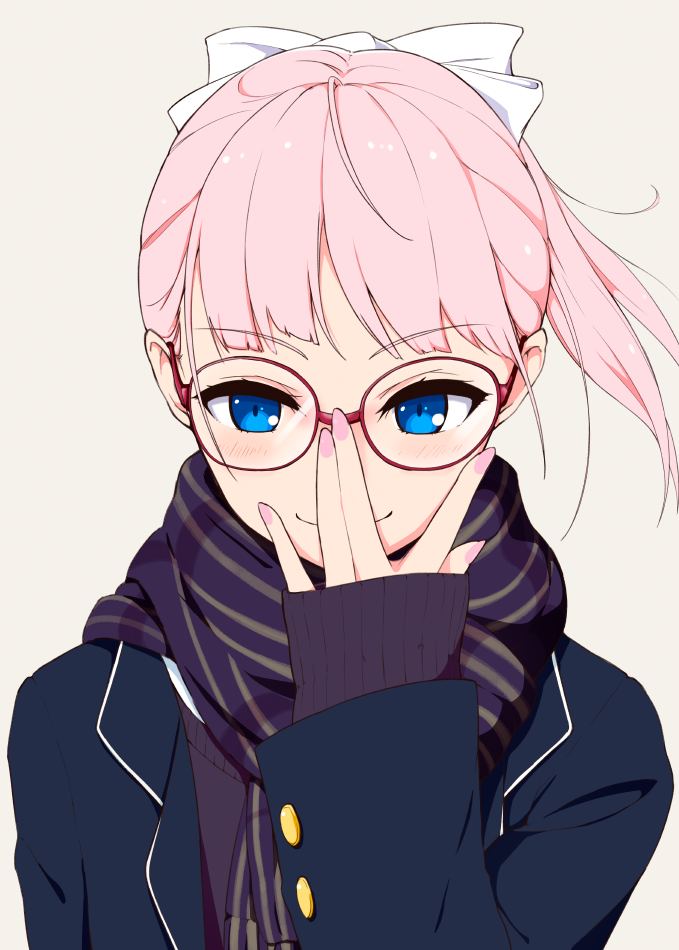 1girl \||/ adjusting_eyewear blue_coat blue_eyes blush closed_mouth coat commentary_request eyebrows_visible_through_hair glasses hi_iro long_sleeves looking_at_viewer nail_polish original pink_hair pink_nails ponytail purple_scarf scarf semi-rimless_eyewear simple_background sleeves_past_wrists smile solo under-rim_eyewear upper_body white_background